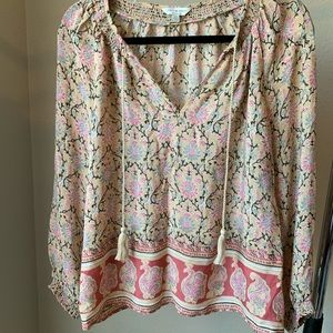 Lucky Brand Floral Blouse with Tassles